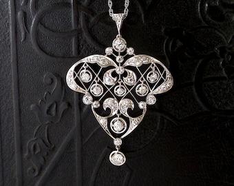 Antique Platinum Diamond Pendant. Edwardian. Belle Epoque. 1.94 Carat TW