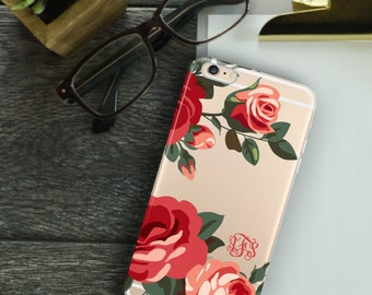Monogrammed Iphone 6 case clear, Roses Iphone 6s plus case transparent - For 5/5s/SE,  6/6s /Plus, 7 /Plus - Summer party gift  (1588)