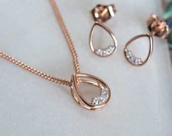 9ct Rose Gold Teardrop Diamond Necklace