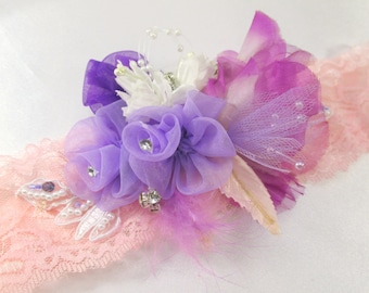 Radiant Orchid Beaded Stretch Headband in Pink Peach, Purple, Violet, and Lavender