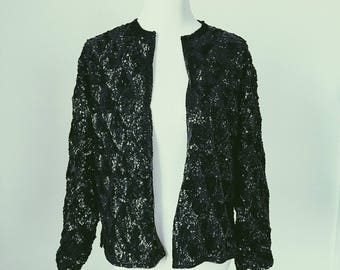 Black Long Sleeve Sequin Jacket