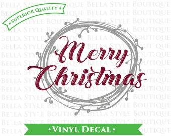 Merry Christmas Laurel Wreath  VINYL DECAL