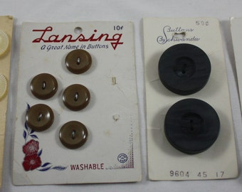Vintage Buttons On Cards 4 Cards 16 Buttons Total Lansing Buttons By Schwanda Sears Various Sizes