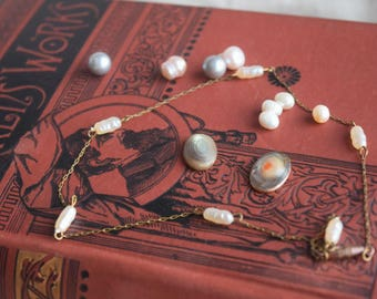Vintage PEARL Jewelry SUpply Lot, Jewelry Findings Lot, Freshwater Jelly Bean Smoke Grey Pearls, Genuine Cultured Pearls blister pearls
