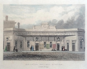 Original antique print, Brighton Railway Station, beautifully drawn and subtly hand coloured small print to frame.