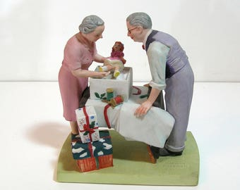 Norman Rockwell Wrapping Christmas Presents Figurine