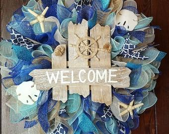 Beach Wreath, Summer Wreath, Welcome Wreath, Nautical Wreath, Seashells, Welcome Wreath, Welcome Ship Wheel Wreath, Blue Wreath, Ocean, Ship