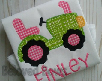 Farm Tractor Applique Shirt, Personalized Girly Tractor Shirt, Farm Birthday Shirt, Girl Tractor Shirt