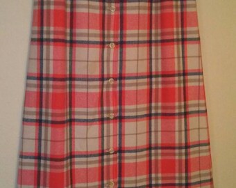 Vintage Young Pendleton Plaid Skirt in Beige, Orange, and Green.