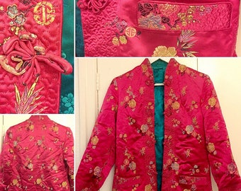 SALE****1940s Magenta and Turquoise Chinese Silk Reversible Jacket!