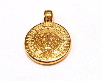 Mayas Calendar Gold Plated Disc Pendant, Mayas Charm, Ancient Maya Disc, Maya Civilization, Double Sided Pendant, 16mm  - 1 piece