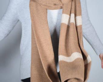 Royal Baby Alpaca scarf fawn/beige stripes