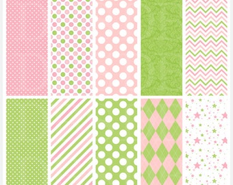 fairy digital papers fairies stripes polkadots polka dots - Fairy Friends Digital Papers