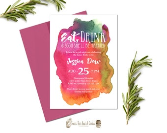 Girls Night Out Bachelorette Party Invitation Vibrant Fun Colorful Watercolor Classy Elegant Modern Printable Digital File Printed Prints