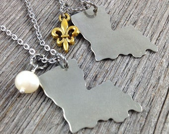 LOUISIANA | Simple Silver State Outline Necklace | Freshwater Pearl or Fleur de Lis charm