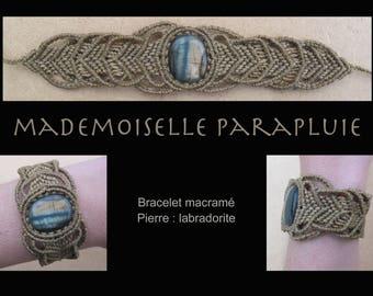 labradorite stone beige Brown macramé bracelet