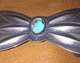 Fred Harvey Era Antique 1930's Navajo Sterling Turquoise Bow Tie Belt Buckle.