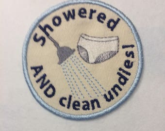Adult Merit Badge showered and clean undies Badge/Patch/Appliqué embroidery pattern