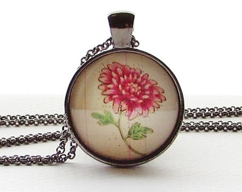 November Birth Month Flower Necklace  - Chrysanthemum - Floral Pendant - June Birthday Gift - Gift for Friend - Mothers Day Gift