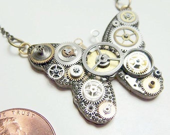Micro-Mechanical Butterfly Necklace - ecofriendly made from recycled repurposed watch parts.
