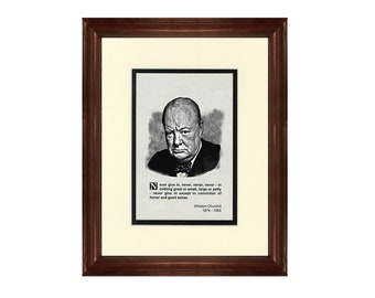 Print and Quotation of Winston Churchill with Mat and Frame