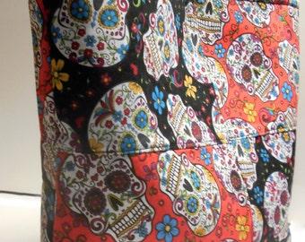 Sugar Skulls Tote Bag, Sugar Skull Diaper Bag, Calavera Purse, Day of the Dead, Dia de los Muertos Handbag, Sugar Skulls Handbag, Skull Tote