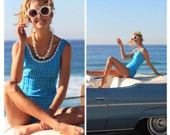 Vintage 60s 70s playsuit romper jumpsuit bathing suit XS S Gingham Pin Up