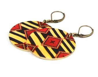 Yellow Navy Southwestern Chief Blanket Dangle Earrings Shrink Plastic Earrings Ethnic Earrings Tribal Earrings Frida Earrings