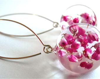 Beautiful heather Earrings, heather piercing in high quality resin, handmade piercing, jewelry, autumn collection, natural pink flowers