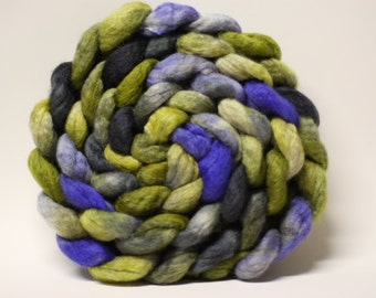 Hand Dyed Handpainted BFL Wool Silk Roving Combed Top Halloween