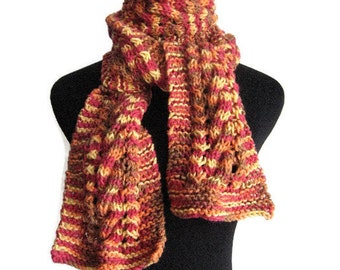 Burst of Sunshine Yellow,Tangerine, Sienna,Deep Pink Cable and Lace Scarf, The Stef Scarf, Vegan Knit Scarf, Womens Accessories Winter Scarf