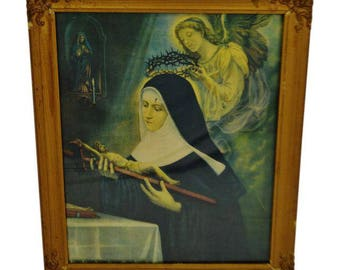 Vintage Gesso Framed St. Rita Religious Lithograph