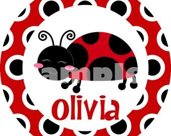 Personalized Ladybug Kids Chevron Melamine Plate Gift
