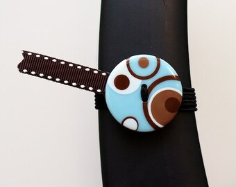 BosoBuddies -  Blue/Brown Circles w/ Brown White Stitches Ribbon (6020B-055)