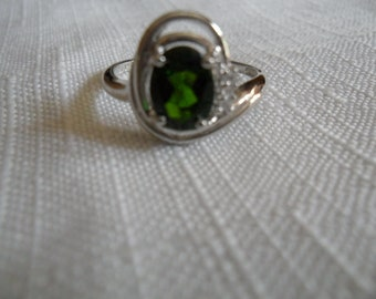 Vintage Chrome Diopside White Zircon Sterling Silver Ring Size 6.75