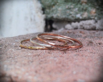 Hammered Stack Rings- 3 Mixed metals- Set of 3 hammered rings, 14k gold filled, 14k rose gold filled and sterling silver