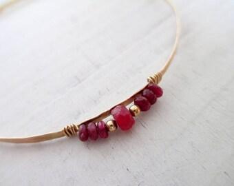 Ruby bracelet, hammered Gold bangle bracelet, stacking bangle bracelet, skinny bracelet, bridal bracelet gold filled