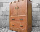 Oak Art Deco Vintage 1930s Storage Drawers Cabinet Cupboard