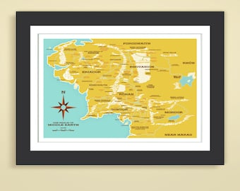 Lord of the Rings - Modern Day Middle Earth Map 12x18 Art Print, Realm of Middle Earth, LOTR, The Hobbit