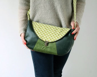 Women shoulder leather empire green Messenger bag Green and gold polka dots