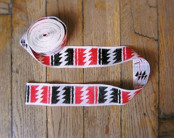 Vintage tribal sewing Trim (Tape\Ribbon) 4.24 yards in 1 listing, 70s, red, black and white, tribal geometric, findings, clothing decor tape