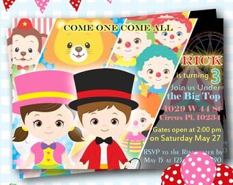 Carnival Invitation, Carnival Birthday Invitations, Circus Invite, Circus Birthday Invites, Circus Invitations,Carnival Party - L94
