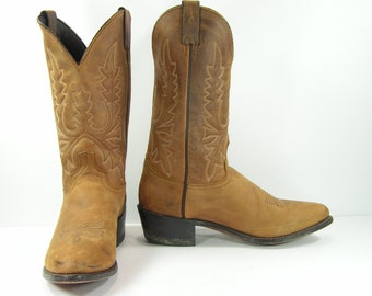 vintage cowboy boots mens 11 D brown distressed leather Abilene western