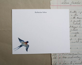 Flying Swallow Bird Custom Notecard Stationery. Thank You, Any Occasion, Personalize Watercolor Print, Set of 10.