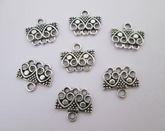 7 connecteur barre coeur 16 x 14 mm en métal argenté