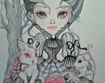 Gray and Pink Victorian Girl with Albino Animals Fantasy Print