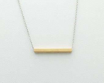 14k yellow gold bar pipe simple necklace charm pendant