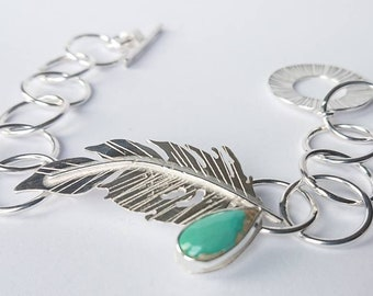Sterling silver hand pierced feather link bracelet with turquoise cabochon, hallmarked in Edinburgh