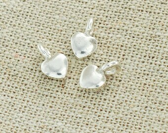 6 of Karen Hill Tribe Silver Heart Charms 5 mm. :ka2427