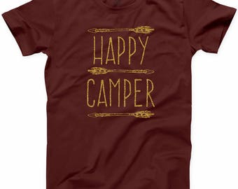 Happy Camper Gold T Shirt Funny Camping Road Trip Camp Lover Forest Tee S